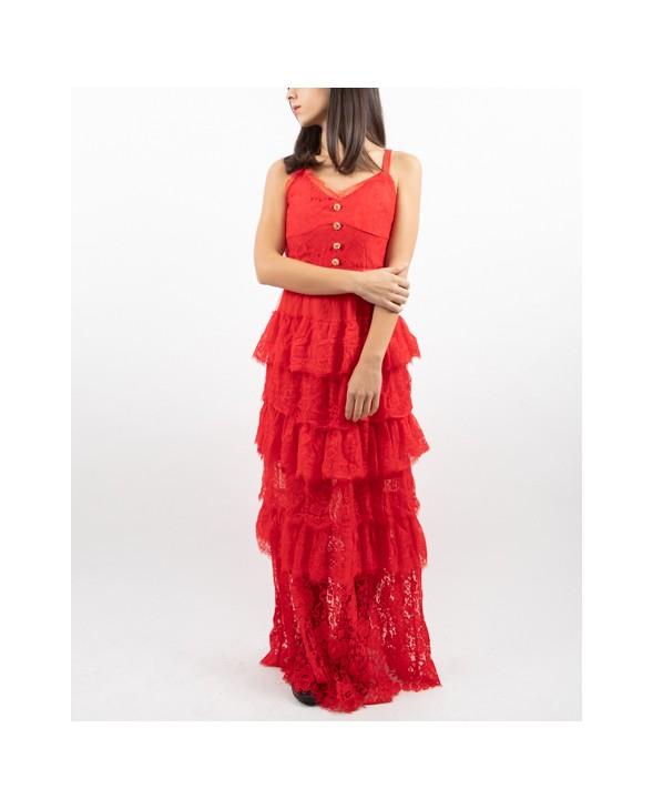 purchase cheap 329fe 051a4 Vestito rosso lungo